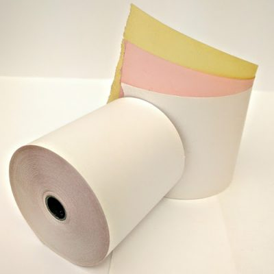 76 X 76 3 Ply Printer Rolls in white yellow and pink