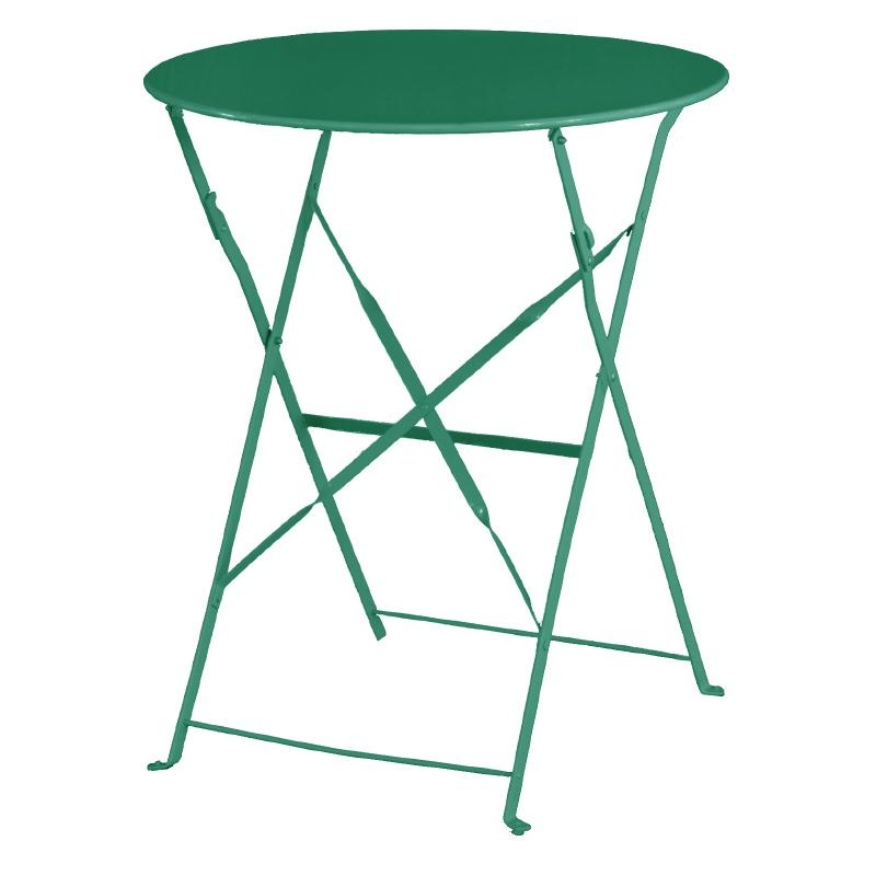 Bolero Garden Green Pavement Style Steel Table folds away when not needed