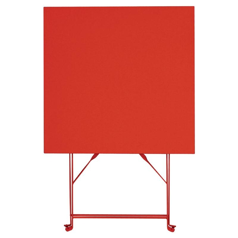 foldaway bistro table in red steel